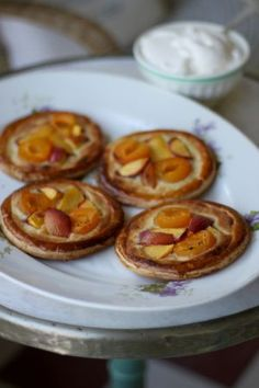 Swedish Tarts with Apricot and topped with Almonds