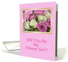 Be My Flower Girl-White and Pink Rose Bouquet-Custom card (818116)