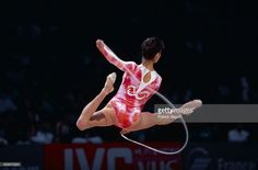 The Bulgarian rhythmic gymnast performs with a rope, at the French Telecom International event.