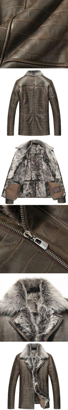 Leather Jacket Men Shearling Jacket  Men's Fur Coats  Luxury  Winter Sheepskin Coat Fur Parka TJ07