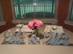 Mr & Mrs sign / Silver Glitter wedding decor on Etsy, $50.00- could probably make this for $5