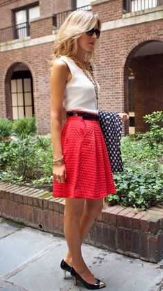 I love this tank/skirt combo. If the red skirt was darker (like a raspberry red) I would love it more.