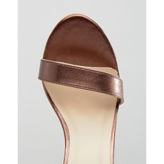 Glamorous Bronze Metallic Two Part Heeled Sandals (€15) via Polyvore featuring shoes, sandals, metallic shoes, ankle strap sandals, high heels sandals, metallic high heel sandals and ankle strap shoes