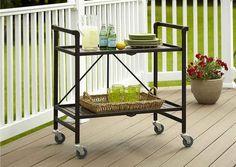 DIY or buy a rolling serving cart.