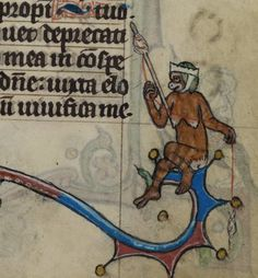 Lady Monkey spinning. 'The Maastricht Hours', Liège 14th century (British Library, Stowe 17, fol. 114r). Discarding images.
