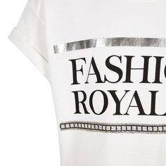 Girls white 'fashion royalty' crop T-shirt - T-Shirts - Tops - girls