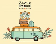 Vector illustration of vintage bus with baggage - Buy this stock vector and explore similar vectors at Adobe Stock Travel Illustration, Cute Illustration, Travel Doodles, Best Travel Bags, Vw Camping, Travel Icon, Cute Cartoon Wallpapers, Art Drawings Sketches, Royalty Free Images