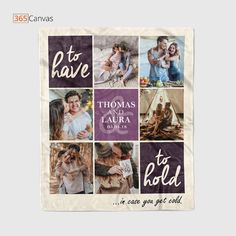 """Get the priceless and most memorable pictures of your partner and transform them into this unique and attractive """"To Have To Hold In Case You Get Cold"""" personalized photo blanket. Perfect as a decor item in your living room or the bedroom. #anniversarygift #lovegift #personalized #blanket #photocollage"""