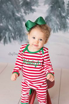 3d20bc4664 Red And White Stripe Christmas Pajamas Infant Baby Girl Boy Full Piece  Romper Reindeer Bottom Appliqué Personalized Custom Embroidered Name