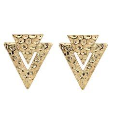 Brinco Dourado Velho Triangle  Brinco confeccionado em metal, apresenta detalhes texturizados bolinhas.Banho: Dourado Velho.Tamanho: 4 cm x 3,5 cm.