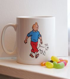 Tintin and Snowy Mug by kookieBazaar // I already have a Tintin mug... but I want this one, too!
