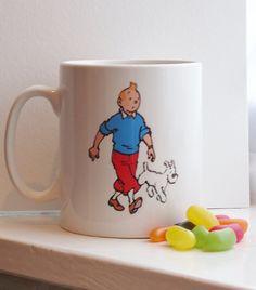 Tintin and Snowy Mug by kookieBazaar on Etsy