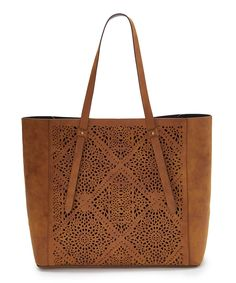 Another great find on #zulily! T-Shirt & Jeans Handbags Cognac Perforated Mandala Tote by T-Shirt & Jeans Handbags #zulilyfinds