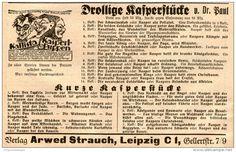 Original-Werbung/ Anzeige 1927 - KALLISTA KASPERLPUPPEN/ DROLLIGE KASPERSTÜCKE-VERLAG ARWED STRAUCH LEIPZIG- ca.140x85mm