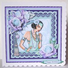 ART DECO LADY in Mint Lilac 8X8 Mini Kit Decoupage on Craftsuprint designed by Janet Briggs - made by Margaret McCartney