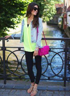 neon blouse, jean jacket