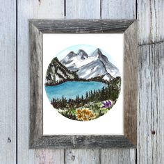8x10 Yellow Flowers Snow Mountains Watercolor Art Print,  Circle Mountain Art, Landscape Painting, Cabin Chic Art, Rustic Chic Art