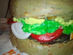 My sister made this cake for her son's birthday. Theme:Spongebob. This is a crabby patty!