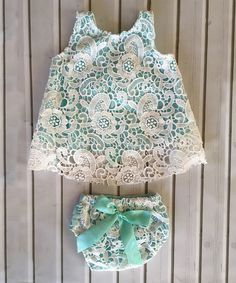White & Aqua Lace Eyelet Tunic & Bloomers - Infant & Toddler