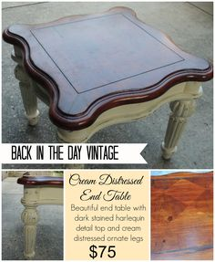 Upcycled and painted cream end table by Back In The Day Vintage of Spring, TX  - SOLD