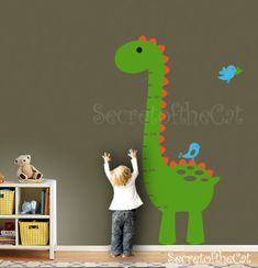 Beautiful Nursery Wall Decal   Wall Decals Nursery  Kids Growth Chart   Dinosaur  Growth Chart Decal   Nursery