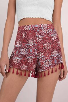 "Search ""Lana Red Multi Shorts"" on Tobi.com! #ShopTobi #fashion #summer #spring #festival Music festival coachella vacation travel packing simple chic boho bohemian chic fashion style fashionable stylish comfy hot weather spring summer trendy tribal patter"