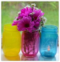 The Robin's Nest: Tinted Mason Jars with Glass Paint...perhaps a way to paint the glass jars?