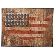 Enjoy a touch of Americana with this rustic wall decor, featuring a flag motif in the shape of the United States. Hang it in your parlor for a patriotic pop,...