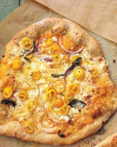 Pizza with Yellow Tomatoes and Basil Recipe