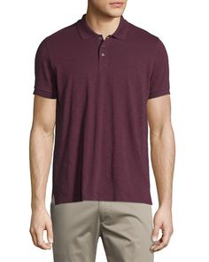 VINCE Short-Sleeve Slub Polo Shirt. #vince #cloth #