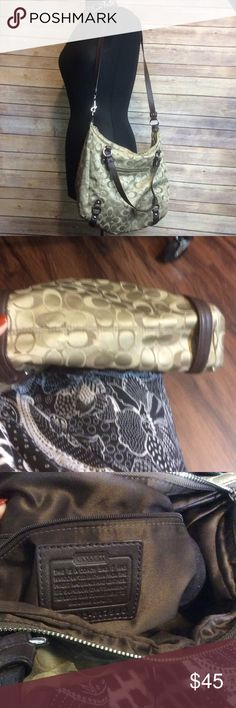 Ladies authentic Coach Purse Ladies authentic Coach Purse.  Purchased from Coach store.  Signature style.   Good condition.  Slight wear on bottom. Coach Bags Shoulder Bags