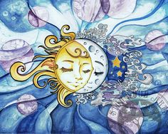 Sun and Moon  Watercolor Painting Print by StarwoodArts on Etsy, $18.00