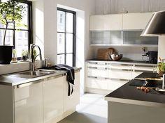 Neat Kitchen Ikea Ideas featuring Gray Vinyl Flooring and White ...