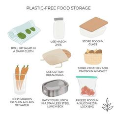 What's your favorite plastic-free food storage method? I'm a big fan of the glass jar and glass storage containers! Glass Storage Containers, Recycling Containers, Food Storage, Storage Hacks, Plastic Storage, Storage Baskets, Bag Storage, Storage Ideas, No Plastic