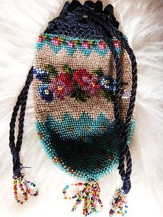 Vtg Micro Beaded Purse Floral French Reticule Tassle Crochet Draw String Bag | eBay
