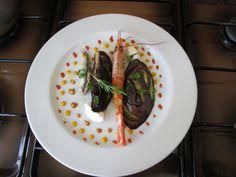 JHS  / Crevette et  anchois radicchio aubergine et  ricotta  avec  le  sauce  mile poiints Gino D'Aquino