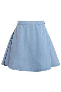 High Waist Light Blue Denim Skirt