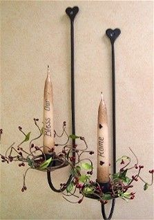 Primitive Taper Candles at Lake Erie Gifts & Decor. Primitive Country Crafts, Primitive Candles, Primitive Kitchen Decor, Rustic Crafts, Country Decor, Rustic Decor, Farmhouse Decor, Decor Crafts, Primitive Lighting