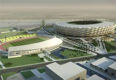 BASRA- In what is the largest sport facility  being built in Iraq, Basra Sports City is set to provide Iraqi athletes and sports fans the infrastructure to fulfill Iraq's athletic potential. In this rendering you see the main stadium and the soccer pitch.