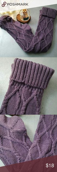Plum Knee High Socks Knit knee high socks in a plum color. Gorgeous detail. Brand new in shipping bag, no tags on them. Perfect for those cozy Sunday mornings. Free People Accessories Hosiery & Socks