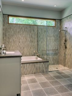 The high window would be an option for the interior bathroom, since it faces a window on the opposite side of the wall.  Also like the zero entry shower option. Laura's Garage Apartment.: