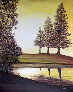 """Original acrylic painting landscape bright sun leaves tree pond lake reflection sepia yellow red green 24"""" x 30"""" - """"Through the Leaves """" - pinned by pin4etsy.com"""