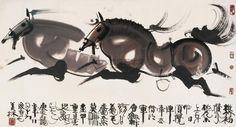 韩美林2000年作双骏图镜心-国画-搜艺搜