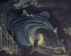 """Iconic historical stage designs for The Queen of the Night sequence from Mozart's """"Magic Flute""""  Simon Quaglio in 1818"""