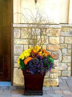 20 Natural Stunning Fall Planters for Easy Garden Fall Decorations – House Decor Front Porch Planters, Fall Planters, Outdoor Planters, Porch Urns, Garden Planters, Fall Potted Plants, Indoor Outdoor, Planting Plants, Ivy Plants