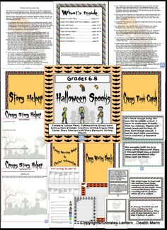 "Halloween Spooks for BOOtober is a ""Collaborative or individual creative writing activity for Middle School children"". Included are 26 Halloween themed creative writing task cards for the class to choose from and 8 blank task cards that can be filled in by the teacher. There is also lined Halloween themed writing paper, a grading rubric and complete lesson plans. You can also use some of the task cards for any season."
