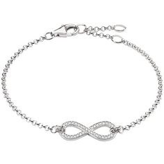 Thomas Sabo Glam & Soul Infinity Zirconia Bracelet , Silver ($86) ❤ liked on Polyvore featuring jewelry, bracelets, silver, thomas sabo charms, silver bangles, infinity charm, silver charms and chain link jewelry