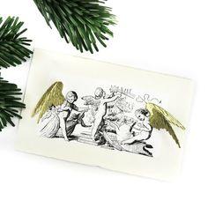 Weihnachtskarte 3 D - ganz einfach selbst machen mit golden Pappflügelchen.