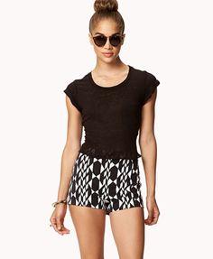 High-Waisted Mod Print Shorts $15.80