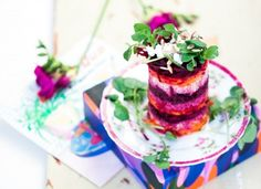 Hemsley Hemsley - Cumin Spiced Goat Cheese, Beetroot and Quinoa Towers Cheese Recipes, Veggie Recipes, Whole Food Recipes, Healthy Recipes, Healthy Food, Healthy Eating, Hemsley And Hemsley, Beetroot, Gourmet